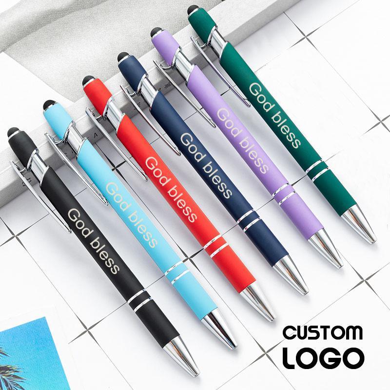 2pcs personnalisé logo capacitif tactile écran tactile stylo métal presse multifonctionnelle stylet de bureau fournit des stylos cadeaux