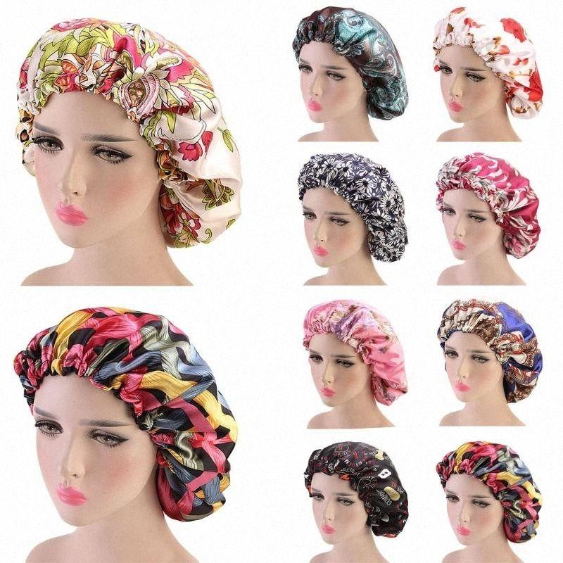 Новые женщины атласная Night Sleep Cap волос Bonnet Hat Silk Крышка головки Printed Резинка платке полуночников Beanie Уход за волосами Wrap Q13n #