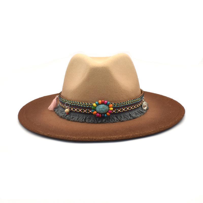 شعر خمر فيدورا القبعات للنساء الديكور العرقية واسعة بريم ترايلبي الأعلى كاب بنما الرجال عارضة التدرج الجاز قبعات قبعة الرامي
