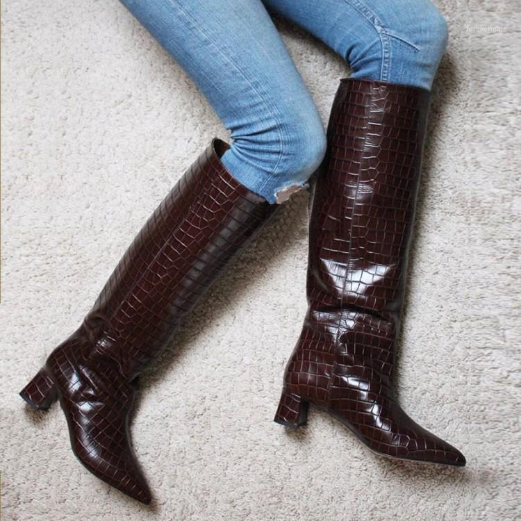 Knee high boots for women wide calf cowboy fall western boots pointed toe genuine leather chunky middle heels 2020 ladies shoes1