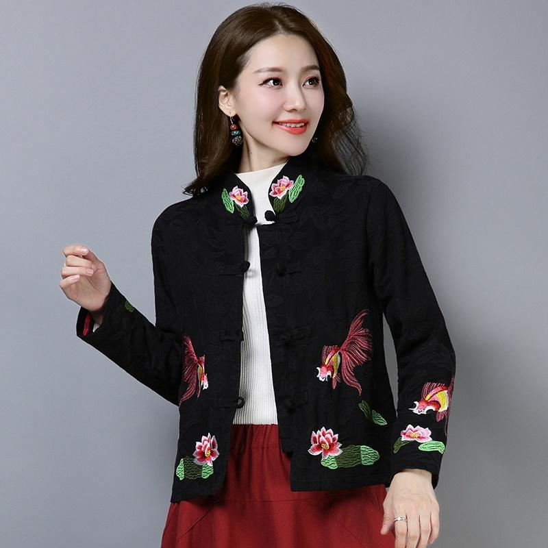 Çin Tarzı Giyim Kadın cheongsam Üst Mandarin Yaka Kadın Tops Ve Bluzlar Nakış Oriental Tang Ceket 11790