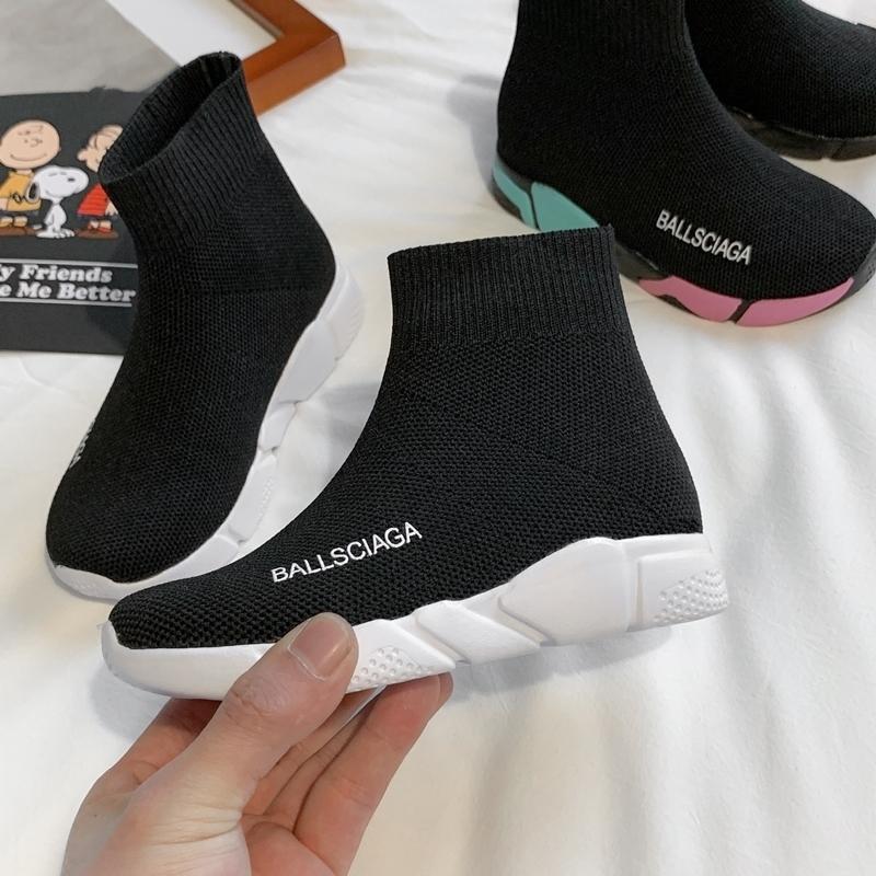 Yüksek Üst Çocuk Ayakkabı Çocuk Çorap Sneakers Erkek Okul Ayakkabı Yumuşak Kızlar Siyah Tasarımcı Spor Koşu Sneakers Toddler Boys Ayakkabı 201124