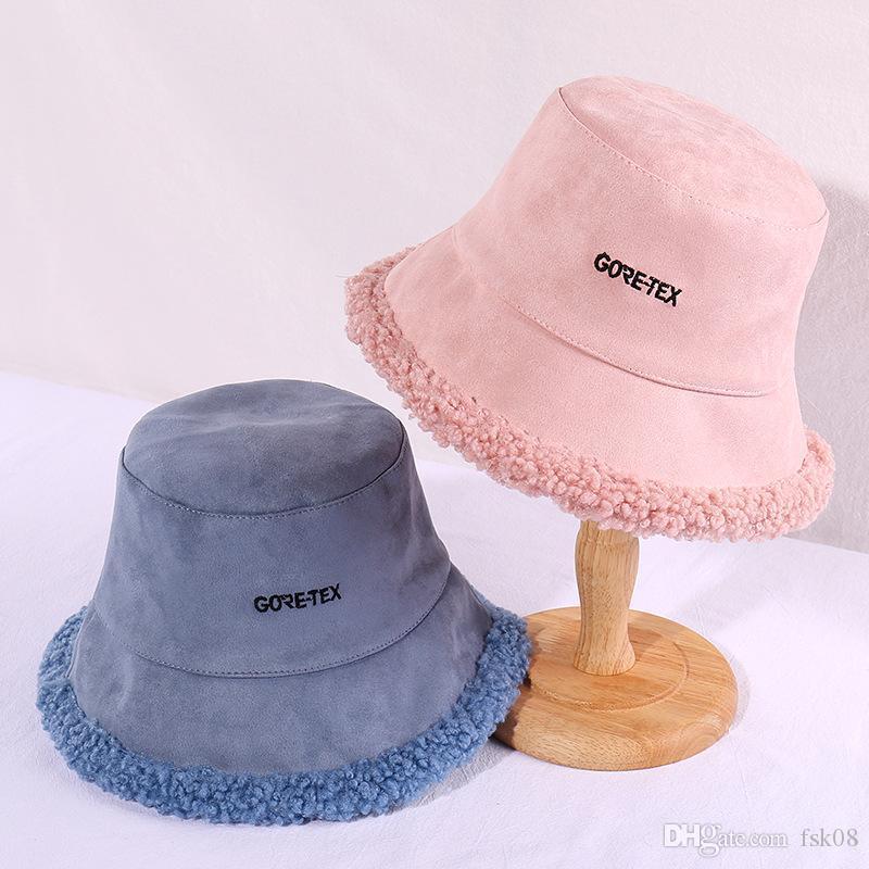Lalambswool Рыбак Hat Женский Утолщенный Волнистый стиль с Хемминг в черном Письме Вышитого Bucket Hat Открытого Теплый