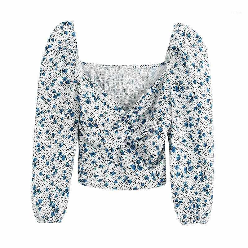 Klacwaya Sexy Stampa Corta Camicetta a maniche corte femminile Autunno Donne Autunno Short Crop Top Summer Elegante Casual Blusas Girls Top1