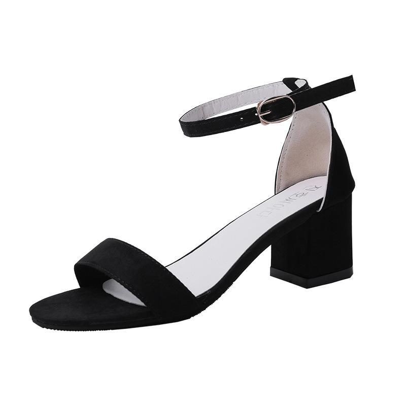 Frauen-Absatz-Schuhe 2020 neue Frühlings-Sommer-Peeptoe Absatz-Sandelholz-Frauen Einfarbig Sexy Plus-Größe 34-40 Sandalen de mujer