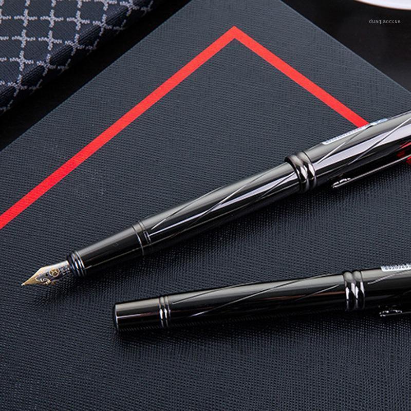 1 pcs high-end requintado fonte caneta metal preto preto 0.5mm fonte de metal plena caneta escritório papelaria de escola1