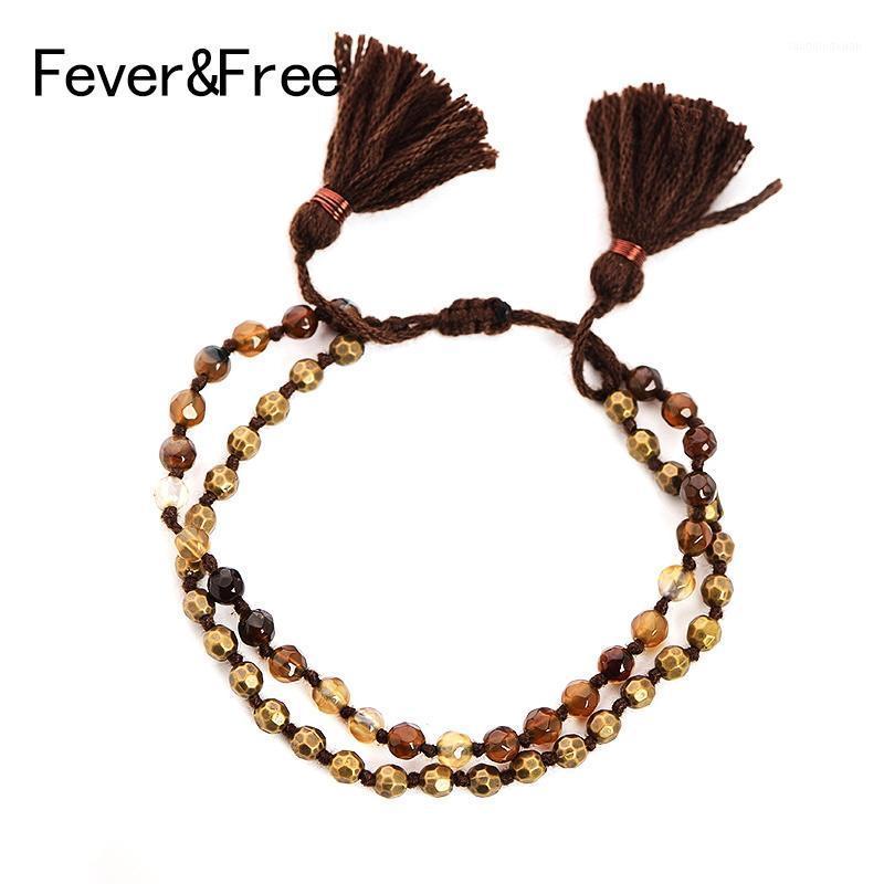 Feverfree Woven Braccialetti perline 2 strati Elastici regolabili Rope Nappe Bracciali in pietra naturale Bracciali vintage Gioielli Amici Gifts1