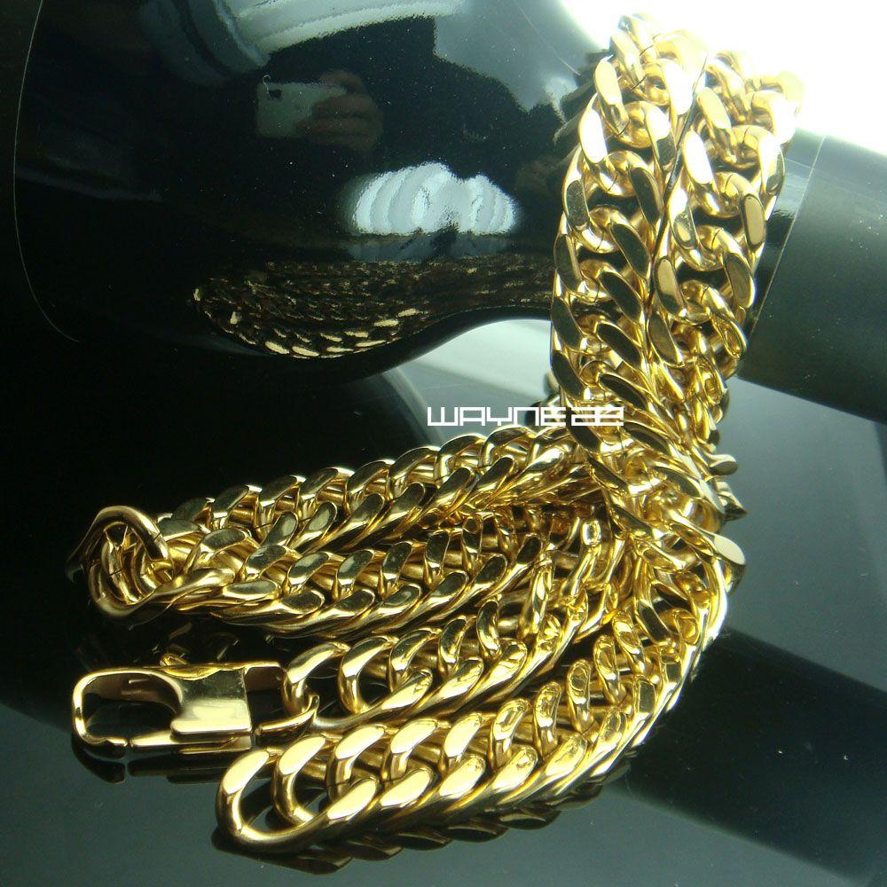 N296-Men Goldton Edelstahl 60cm Länge 10mm Breite Schwere Halskette Kette