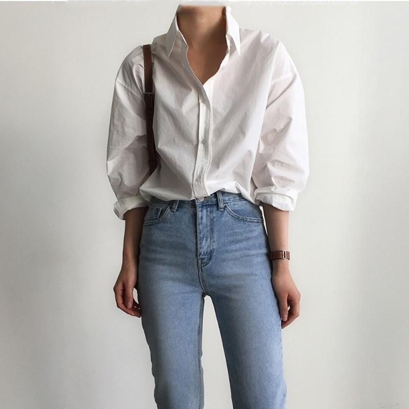 Ofis Bayanlar Pamuk Beyaz Gömlek Bluzlar Kadın Bahar Tek Göğüslü Uzun Kollu Gömlek Kadın Blousas 201201 Tops
