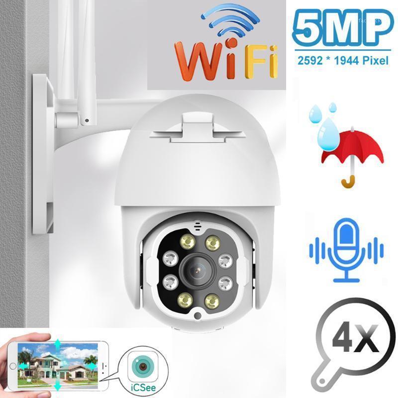 Câmeras Evkvo 5MP PTZ IP Câmera Ao Ar Livre Wi-Fi Velocidade Cúpula Sem Fio CCTV Security Pan Tilt 4x Zoom Vigilância Sirene Alarme1