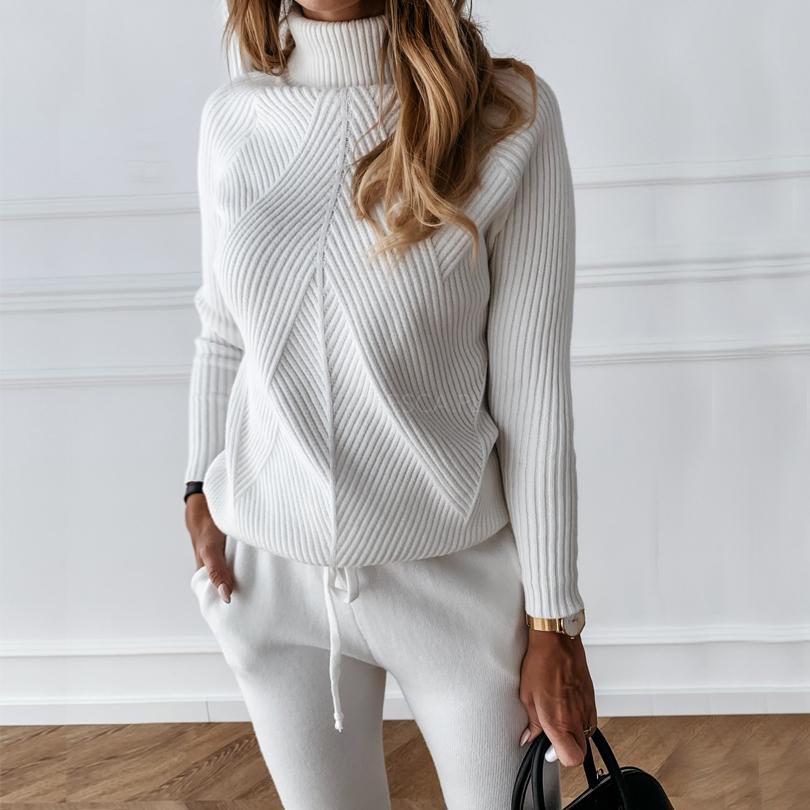 Tyhru осень зима женские трексуиты сплошной цвет полосатый водолазка свитер и эластичные брюки костюмы вязаные два частя