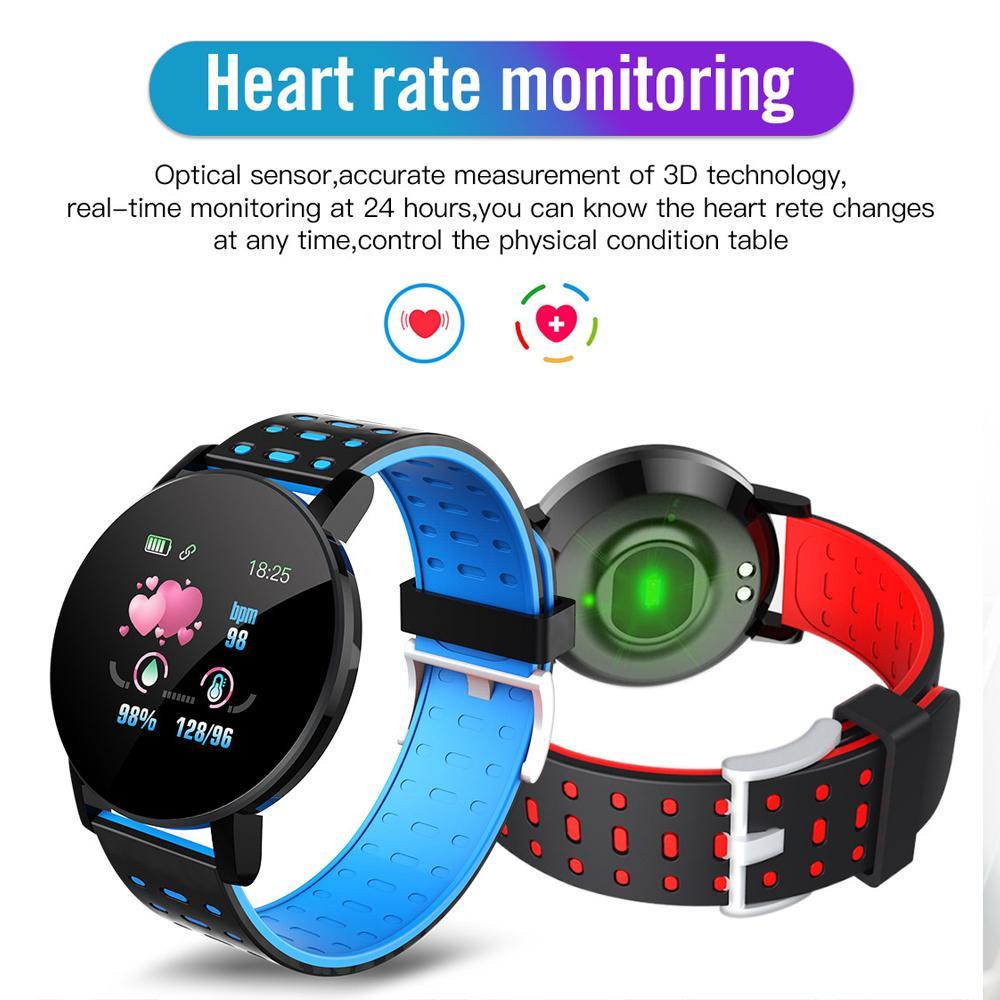 119 Plus Smart Armband Smartband Armband mit Blutdruck Herzfrequenz Wasserdichte Farbbildschirm Sport Watch Fitness Tracker