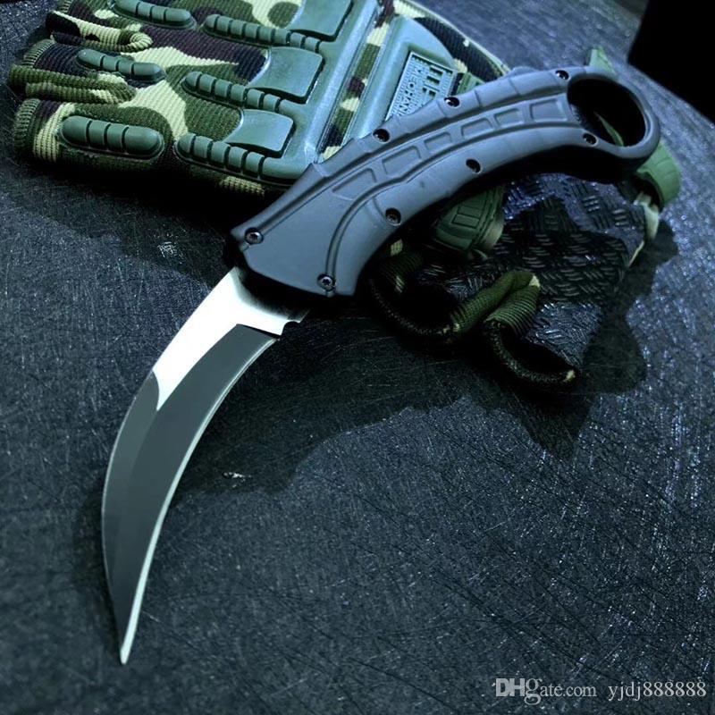 영혼 Reaver Karambit 자동 클로 칼 D2 블레이드 알루미늄 핸들 마이크 야외 사냥 캠핑 생존 자동 푸시 나이프 BM 3310 C07 A16 UT121 UT85 UT88 A07 A161 BM42