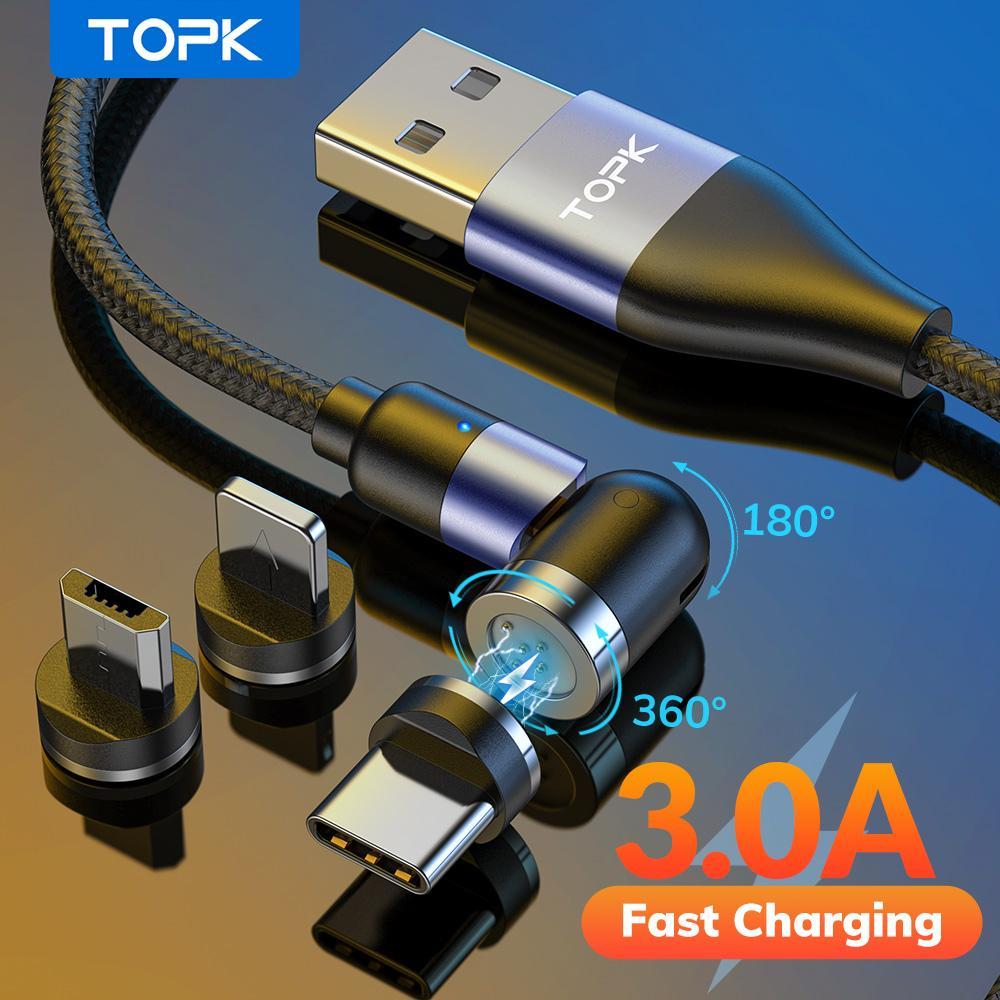 Topk 540 ° Magnetkabel 3A Schneller Ladung Micro USB Typ C Kabel Magnetische Ladekabel für Telefon 11 12 Pro Max Xiaomi Samsung