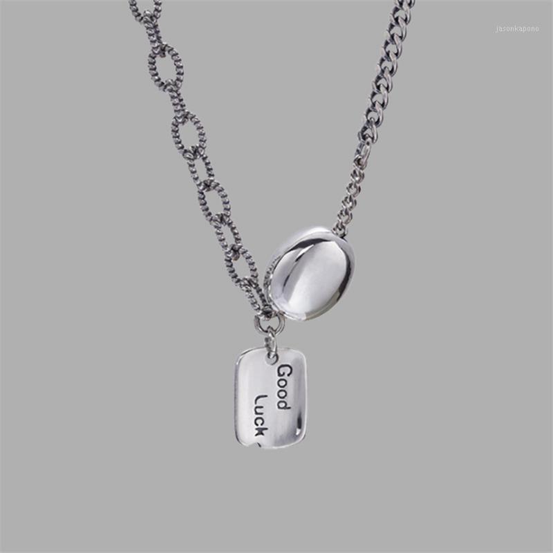 Кулон Ожерелья буквы Удачи Асимметричный колье цепи ожерелье тибетский серебряный готический хип хмель ювелирные изделия женщины леди 20211