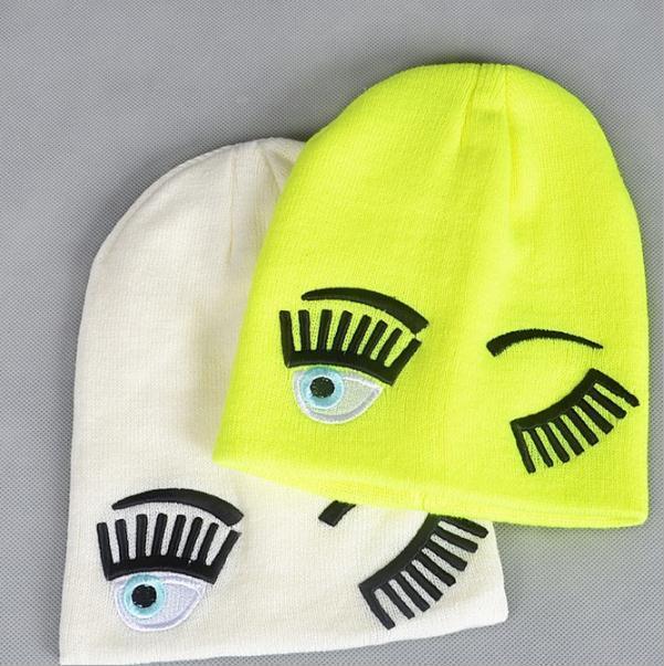 Шапочки Cap CHIARA Ferragni Письмо вышивки Теплая зима Hat Cap Вязаная Hip Hop Мужчины Женщины Любители Street Dance Bonnet Skullies Black