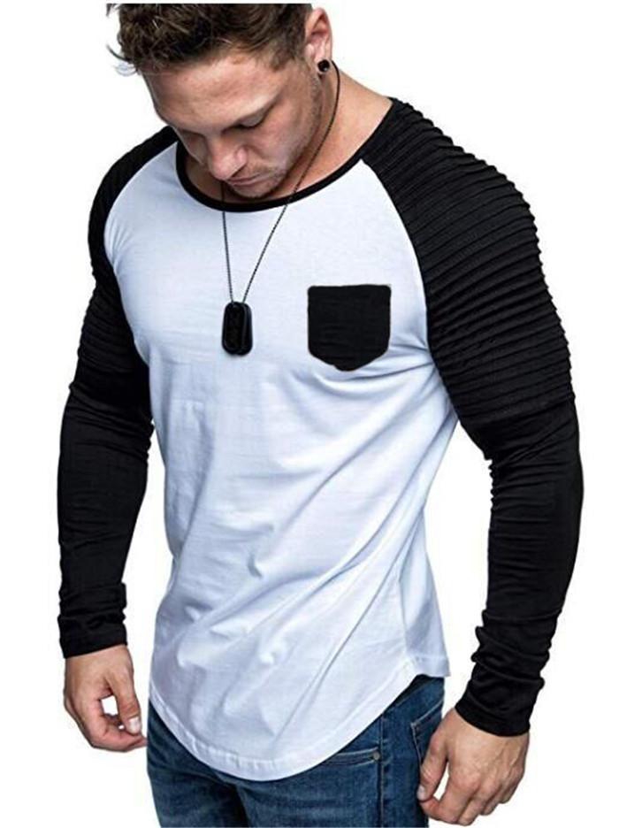 Mens Uzun Kollu Mürettebat Boyun için Yığılmış Panelli Tişörtleri Boyun Slim Fit Tees Homme Sonbahar Rahat Giysiler