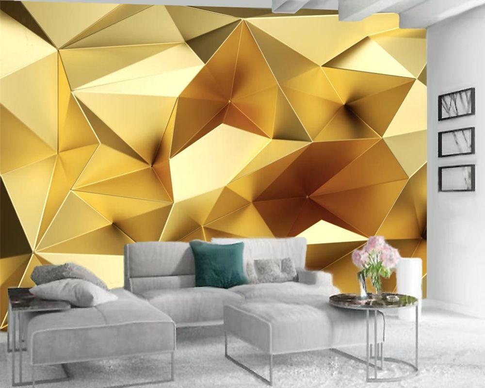 Personalizado mural papel de parede 3d europeu luxo poligonal geométrica dourada sala de tv fundo papel de parede parede vinculado