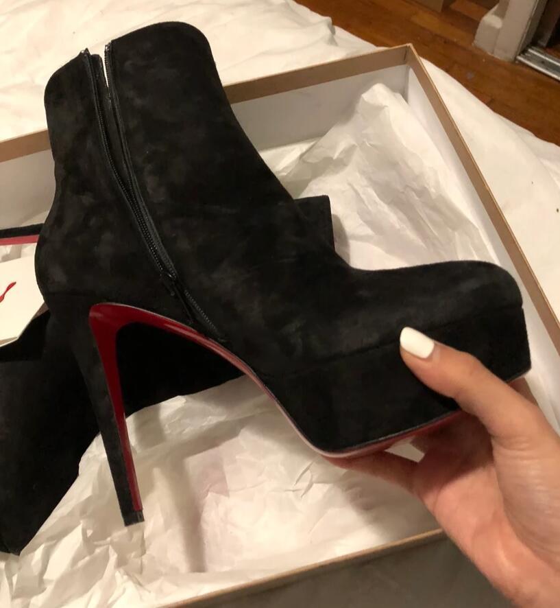 Invierno de la manera de la señora tobillo botas de tacones altos para mujer Rojo Plataforma botines inferior Señora botín Plafrom frescos de la fiesta de arranque caballero vestido de novia EU43