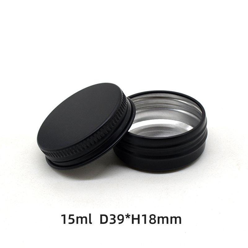 100pcs 15ml de alumínio Jars Lip Balm potes, 15g preto vazio Jar Cosmetic Cream Pot Caso rosca tampa do recipiente