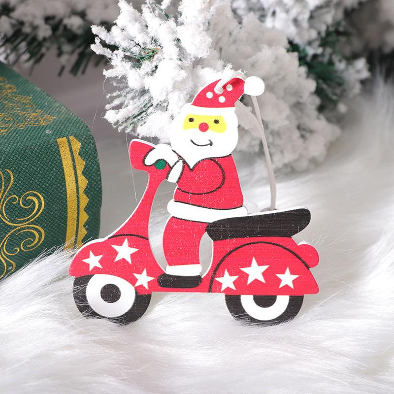 Finestra di legno di Natale ciondolo albero di cartone animato animale pupazzo di bicicletta Decorazione albero di Natale libero di trasporto del DHL di fabbrica Dropshipping F6803
