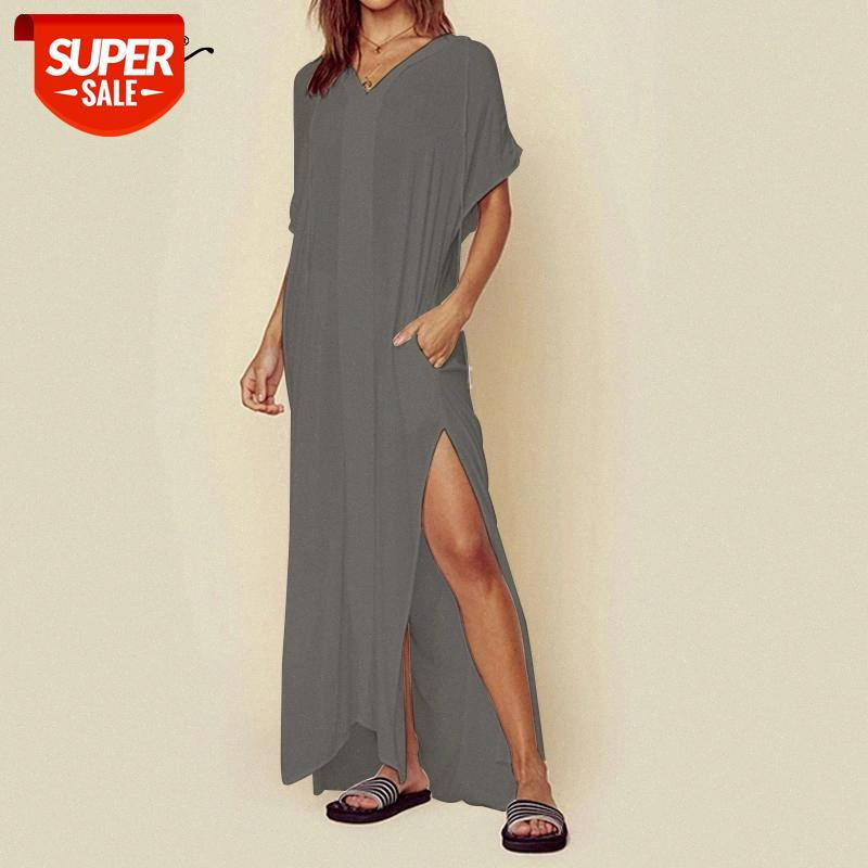 Celmia Frauen Sexy Kleid Casual Kurzarm Hoodies Maxi Lange Sommerkleid Lose High Split Sommer Strand Vestidos Robe Plus Größe 5XL # ID14