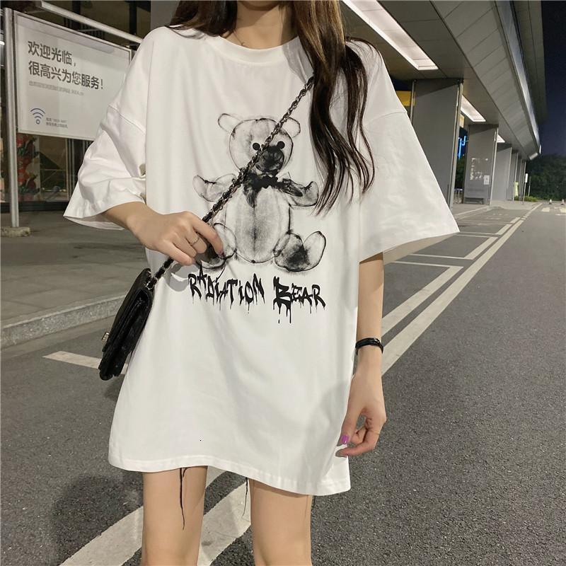 2020 Nuevo verano coreano algodón impresión suelta fresco y dulce dibujos animados de dibujos animados patrón de manga corta de mujer grande camiseta para mujer