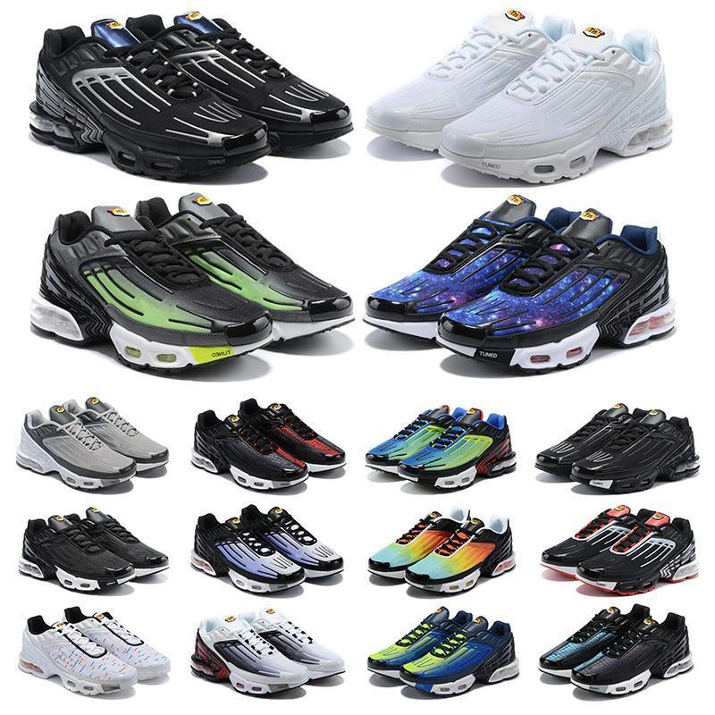 새로운 TN 플러스 3 러닝 신발 남성 Chaussures III 트리플 화이트 블랙 무지개 빛깔의 녹색 OG 미국 네온 망 여성 트레이너 스니커즈 스포츠 36-45