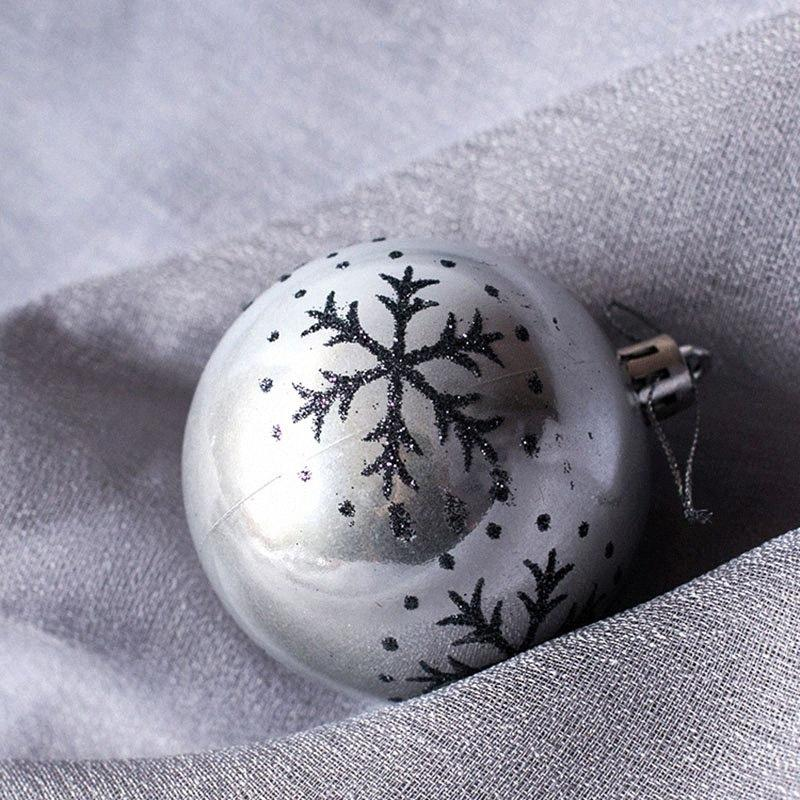 6 Pcs do floco de neve pintado Balls Ornamento de presente da bola de plástico Hanging Holiday Party Decor JS23 saah #