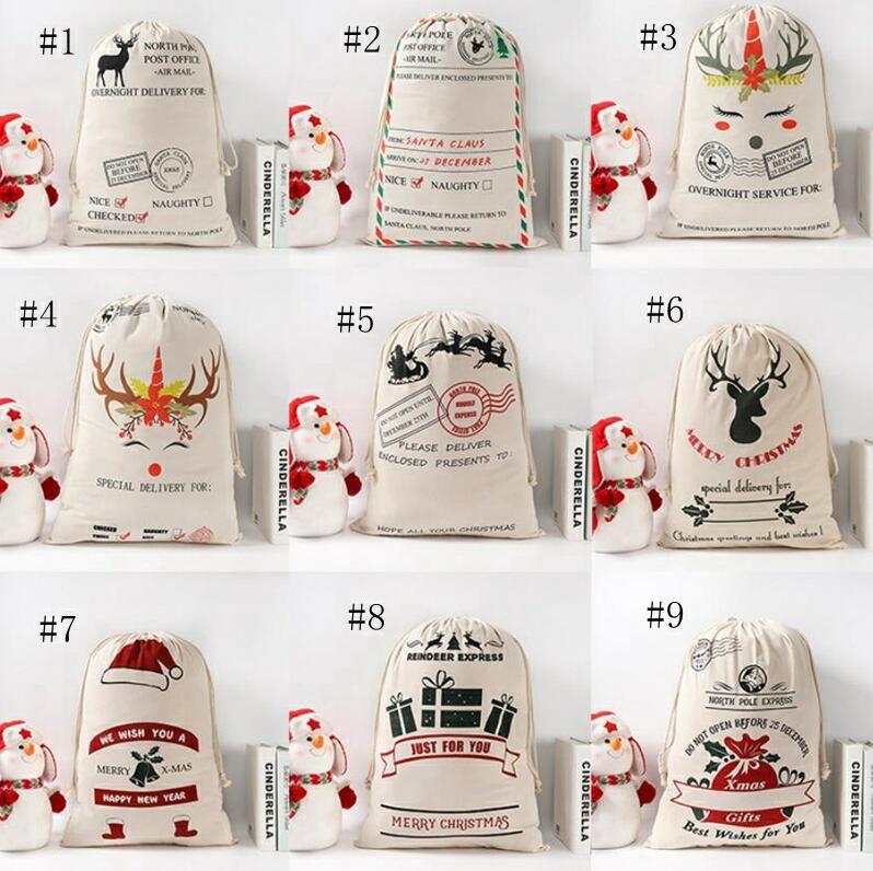 حقيبة هدايا عيد القطن قماش حقيبة سانتا أكياس مشغول سانتا كيس الرباط حقيبة زينة عيد الميلاد سانتا كلوز دير YL474A