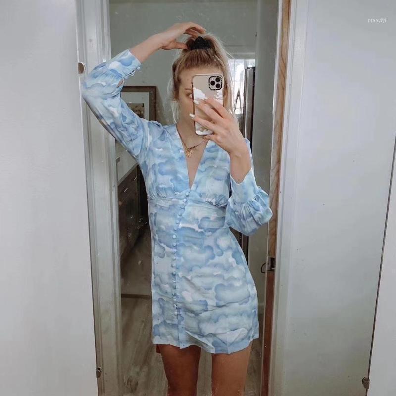 Повседневные платья 2021 лето 100% шелкового облака напечатаны глубокие стержня V-образным вырезом платье женщин1