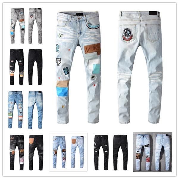 2021 Erkek Moda Sıska Düz İnce Yırtık Jean Elastik Rahat Motosiklet Biker Streç Denim Pantolon Klasik Pantolon Kot Boyutu 28-40