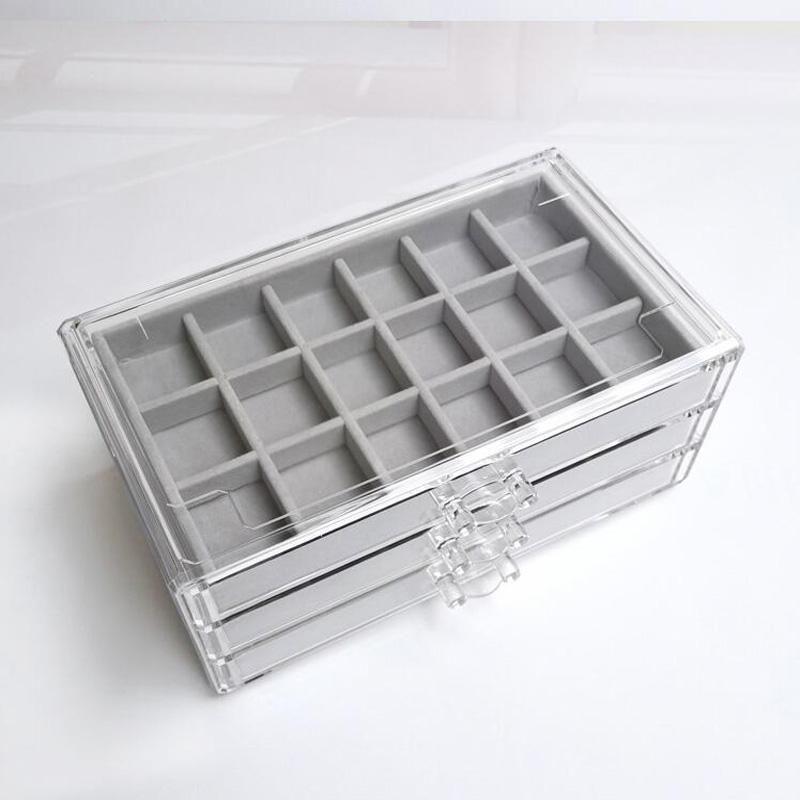 Drei-Zeichnung Multi-Frame-Acryl-Flanell-Storage Box Schmuck-Halskette Finishing Box Ohrring-Ring-Ausstellungsstand Flanell Tray