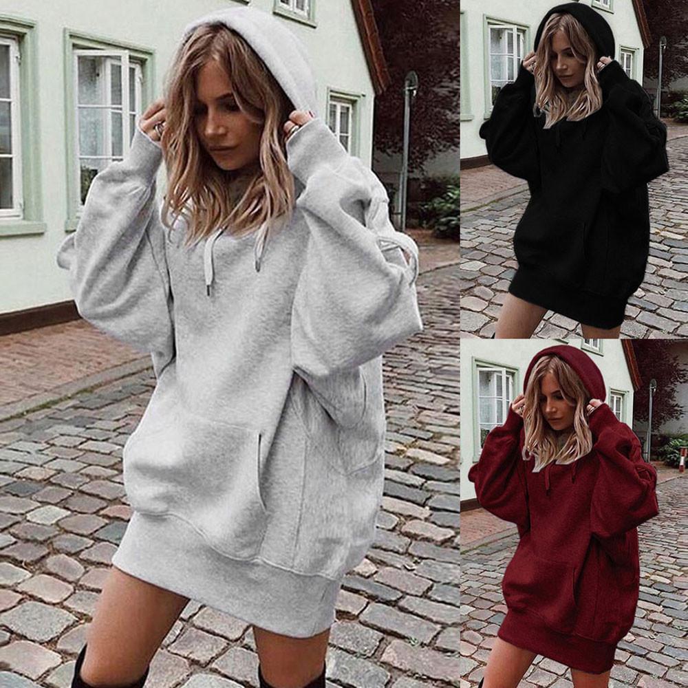 Büyük Boy # H40 Kadınlar Moda Katı Renk Hoodie Hoody kazak Kadın Sweatshirt Kış Elbise Moleton Tops