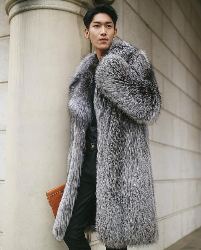 Heißen Verkauf-neue Faux-Pelz-Mantel Imitation Fox-Pelz-lange Mantel-Männer 2020 Winter-Fake Fur Männlich warmer Winter-Jacken-Mantel plus Größe 5XL