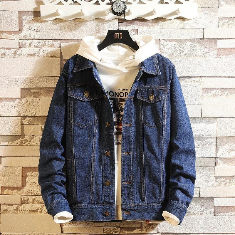 Мужские куртки Мужчины Blue Denim и Pauts Весна Осенняя Осенняя Оухая Повседневная Жан Хлопок Сплошной Черный Размер 4xL1