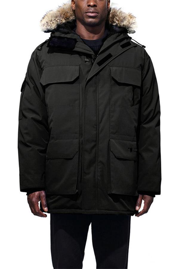 남성 겨울 코트 자켓 Veste Homme 야외 겨울 자열 겉옷 큰 모피 후드 fourrure manteau 다운 재킷 코트 하버 파카 Doudoune