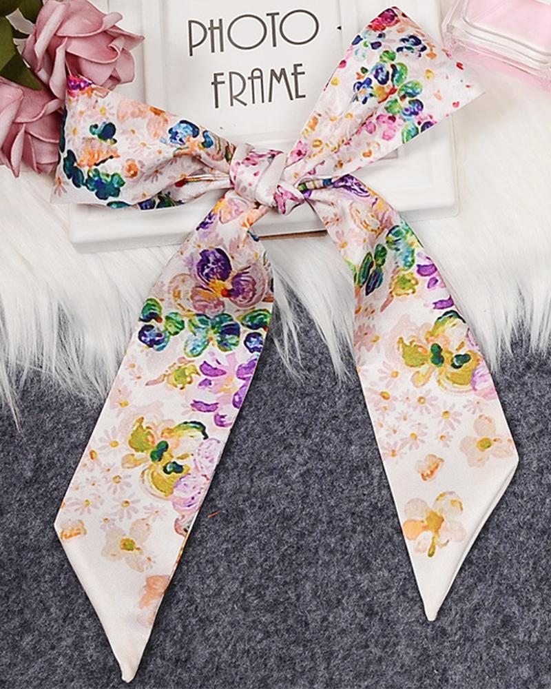 Mixed design digital printing silk scarf bag handle scarves small ribbon decorative scarf bag with ladies flower colorful scarves wholesale