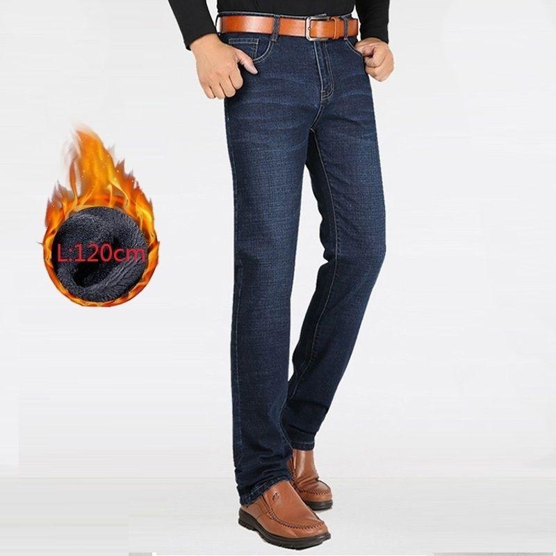 Мужчины зимние джинсы прямые толстые теплые очень длинные большие высокие одежда джинсовые брюки мужские ковбойские брюки черные мужчины джинсы флис 201123
