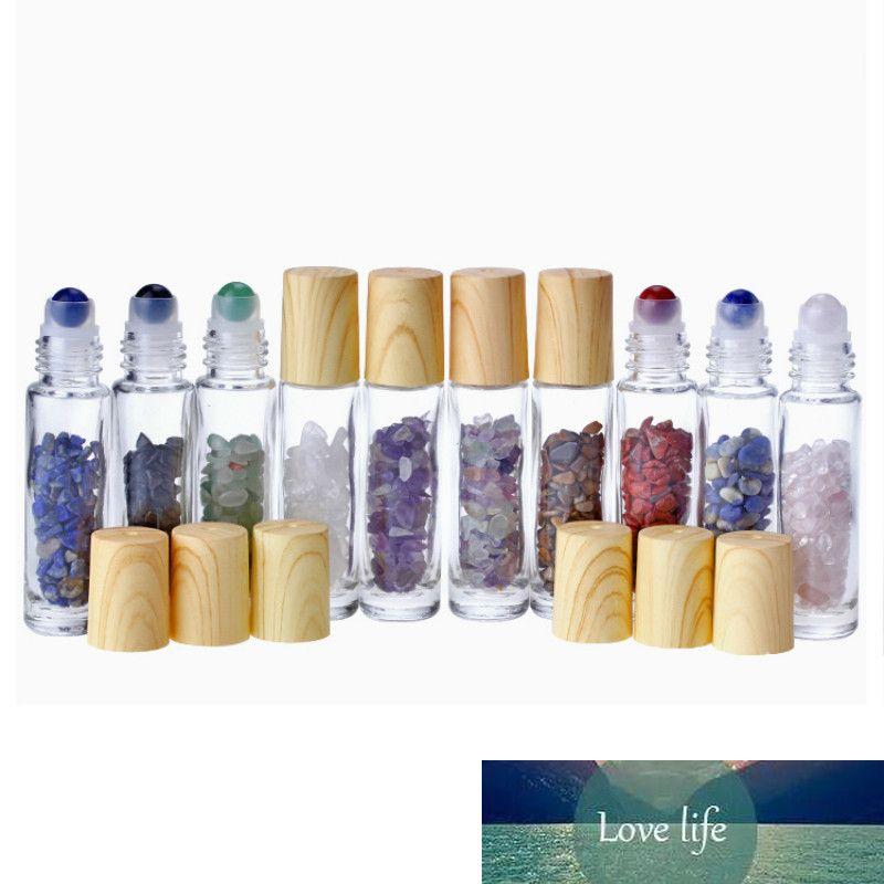 Pierre naturelle Jade Bouteille Roller en plastique grain de bois Couvercle Rechargeables Essential bouteille d'huile 10ml de P230