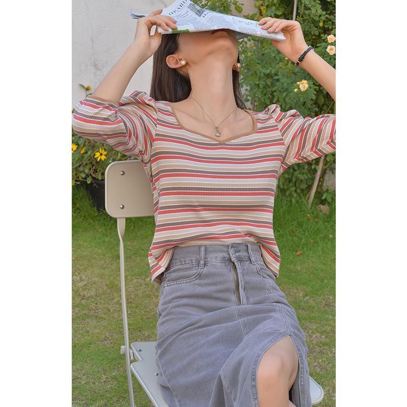 MISHOW 2020 Autumn T-Shirts für Frauen mit V-Ausschnitt Langarm-Knittwear PUFFÄRMELN süßen dünnen Tops Damen Kleidung MX20C5217