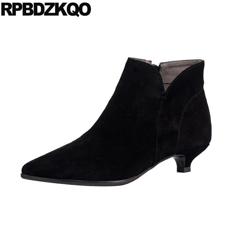 chaussures fourrure grosse taille en daim short 2021 hiver noir stiletto pointu onguant bottillons véritable cuir de concepteur de designer latérale