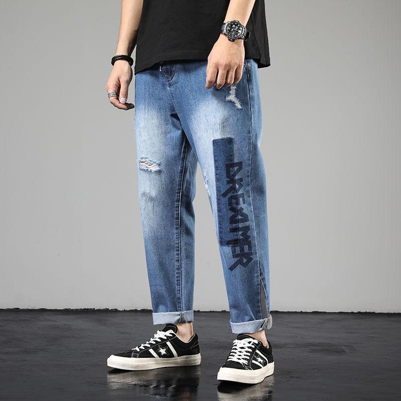 Autunno 2020 nuovi uomini di jeans alla moda allentato casuale abbigliamento comodo attraverso la banda Bocca design pantaloni Aumentare la taglia 28-42
