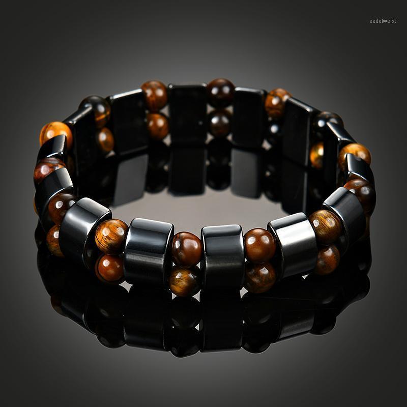 Otras pulseras Pulsera de salud hematita magnética para mujeres Hombres Magnetita negra Power Bangle Natural Stone1