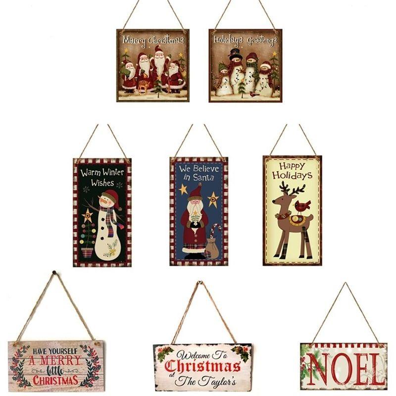 Fengreise деревянная дверь висит знак Рождественская елка орнамент с Рождеством Декор для дома Navidad с новым годом 2021 Y201020