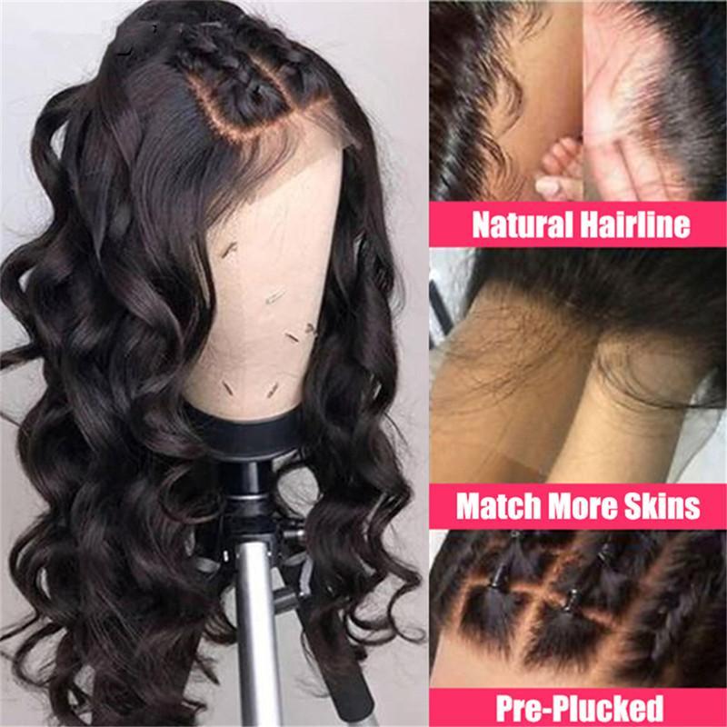 Peluca del frente del cordón delantero brasileño onda floja superior de seda del cordón de la peluca de cabello humano 13X6 para las mujeres con los nudos blanqueados