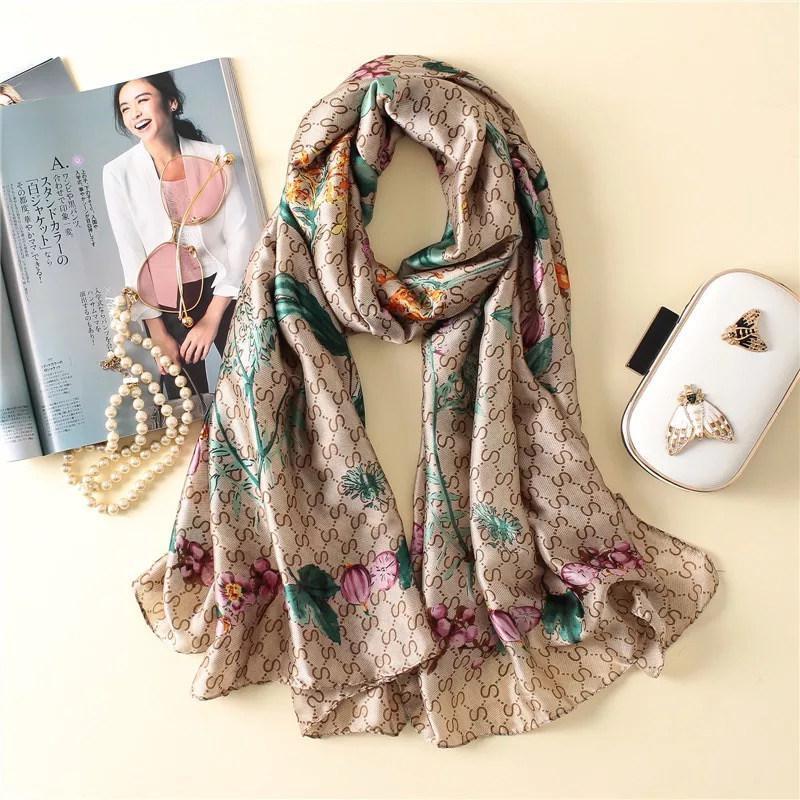 2020 inverno mulheres Outono lenços de moda Parrot Imprimir lenço de seda senhora Popular xale turbante de seda praia