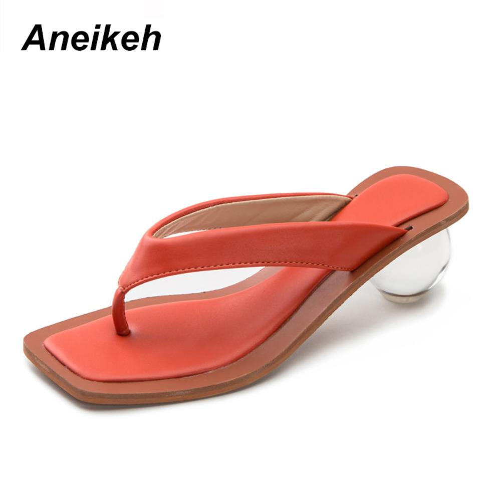Aneikeh 2020 NEW Women Summer Sandals Clear Mixed Colors Transparent Med Round Heel Open Toed Slipper For Party Shoes Pumps 43 C0128