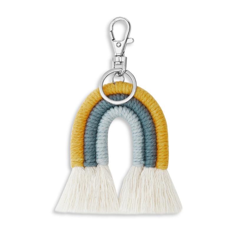 Weaving Rainbow Keychains Boho Автомобиль Висит Ювелирные Изделия Подарки Handmade Macrame Держатель Keying Bag Charm de Jllfgp