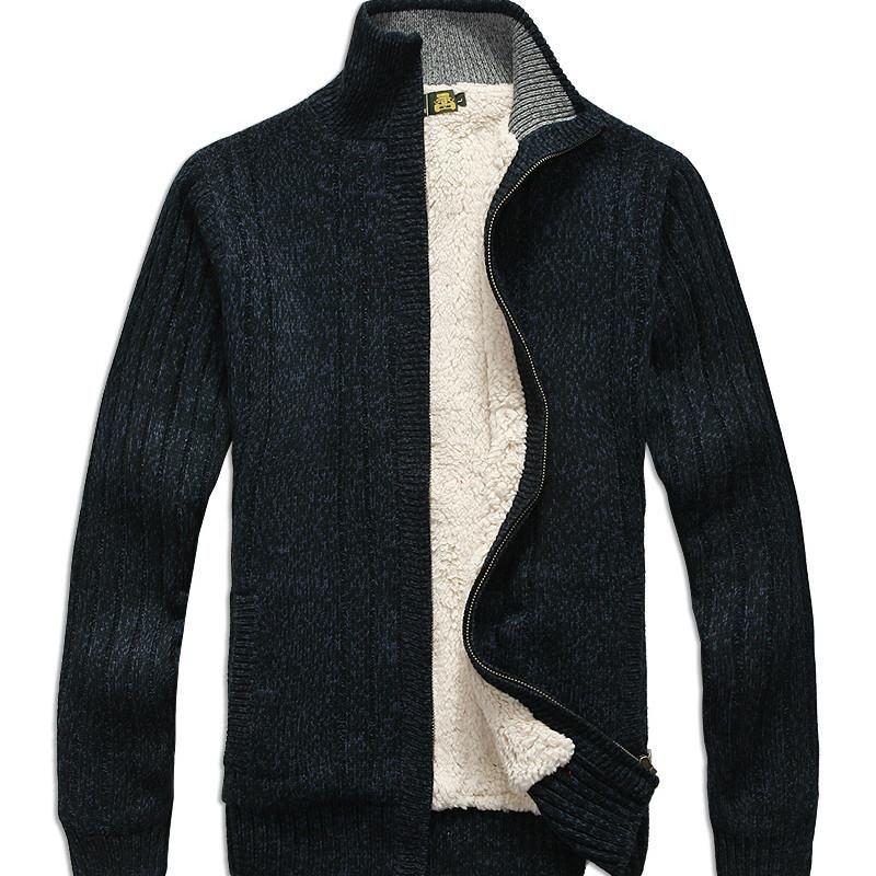 Sonbahar ve Kış Erkekler Triko Kazak Casual Hırka Kalın Örgü Coat Uzun kollu